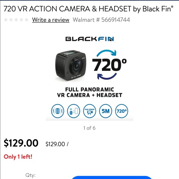 720 VR Action Camera and Headset by Blackfin NWT
